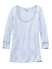 3/4-Sleeve Mid-weight Ribbed Silk Cotton Base Layer Top