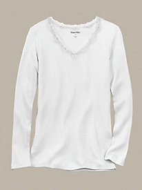 Long Sleeve Mid-weight Ribbed Silk Cotton Base Layer Top 8687422