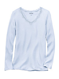 Long Sleeve Mid-weight Ribbed Silk Cotton Base Layer Top