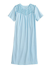 Stretch Knit Nightgown with Lace