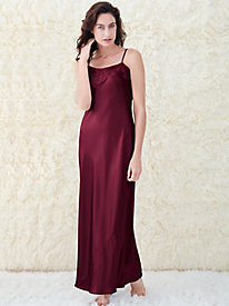 Washable Silk Charmeuse Long Gown with Lace