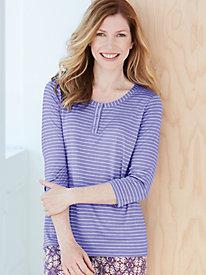 3/4-Sleeve Stripe Sleep Top in Silk Modal