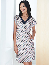 Short Sleeve Washable Silk Charmeuse Nightshirt