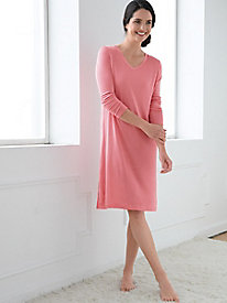 Long-Sleeve Knee-Length V-Neck