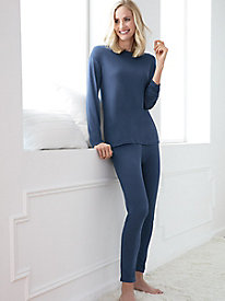 Long-Sleeve Solid Pajama Top