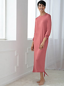 Long-Sleeve Solid Nightgown