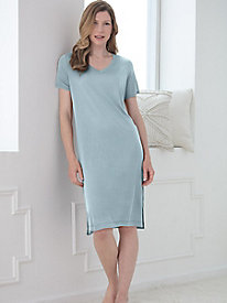 Short-Sleeve Knee-Length V-Neck