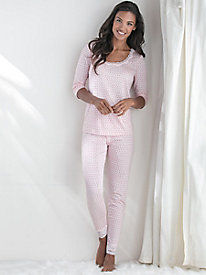 Mid-Weight Print Pull-on Pant with Lace