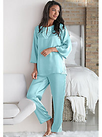 Charmuese Tunic Pajama Set with Lace