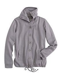 ForeverSoft Fleece Long Sleeve Button Front Sweatshirt