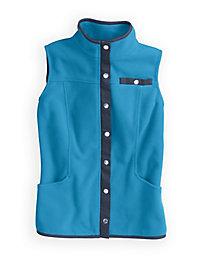 Microfleece Vest with Twill Trim