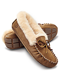Ladies' Acorn Suede Sheepskin-lined Slippers