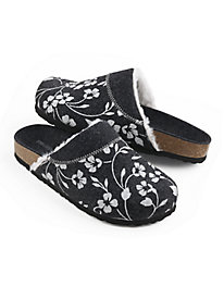 Floral Wool Slipper with Sherpa Lining