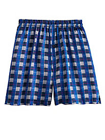 Men's Silk Charmuese Plaid Boxers