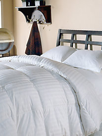 350 Thread Count Damask Stripe White Down Comforter