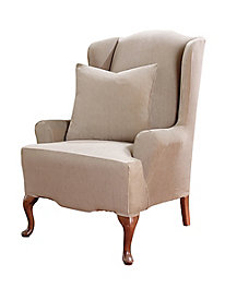 Stretch Suede Wing Recliner Slipcover