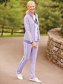 Embroidery And Stripes Three-Piece Active Set