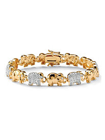 1.32 TCW Round Cubic Zirconia 14k Yellow Gold-Plated Elephant-Link Pave Bracelet 8