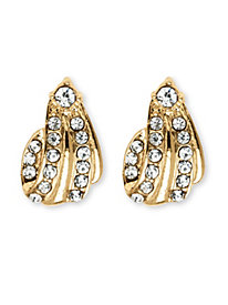Crystal Clip-On Earrings in Yellow Gold Tone