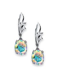 5.08 TCW Oval Cut Cubic Zirconia Sterling Silver Aurora Borealis Drop Earrings