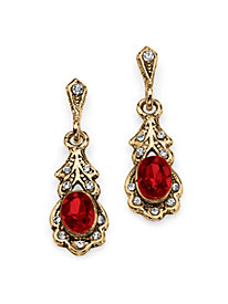 Oval Simulated Birthstone Drop Earrings in Antiqued Yellow Gold Tone January - Simulated Garnet