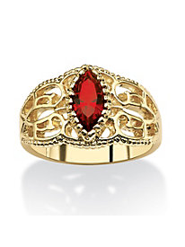 Marquise-Cut Simulated Birthstone 14k Yellow Gold-Plated Filigree Ring January - Simulated Garnet