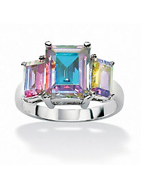 5.60 TCW Emerald-Cut Cubic Zirconia Sterling Silver Aurora Borealis Ring