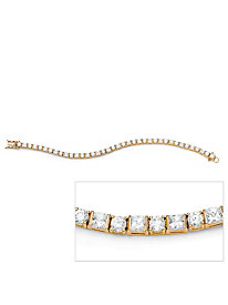 12.40 TCW Round and Princess-Cut Cubic Zirconia 14k Yellow Gold-Plated Tennis Bracelet 7 1/4