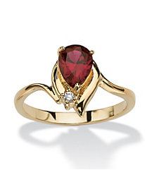 Pear-Shaped Birthstone with Crystal Accent 18k Gold-Plated Ring January - Simulated Garnet