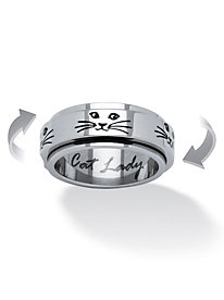 Cat Lady Spinner Ring in Black IP Stainless Steel