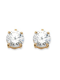 6 TCW Cubic Zirconia Clip-On Earrings 18k Gold-Plated