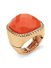 Tangerine Checkerboard-Cut Cabochon Stretch Ring in Yellow Gold Tone