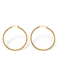 Textured Hoop Earrings in Gold-Ion Plated Stainless Steel