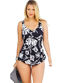 Beach Belle Splash Sarong Front Swimsuit