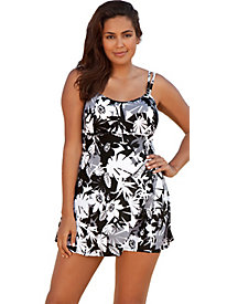 Beach Belle Techno Floral Plus Size Lingerie Swimdress