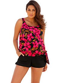 Beach Belle Oasis Plus Size Blouson Cargo Shortini