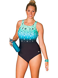 Aquabelle Citrine Plus Size High Neck Swimsuit