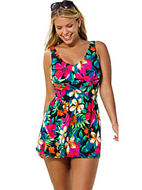 Beach Belle Fiji Plus Size V-Neck Swimdress