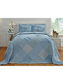 Ruffled Chenille Patchwork Bedspread