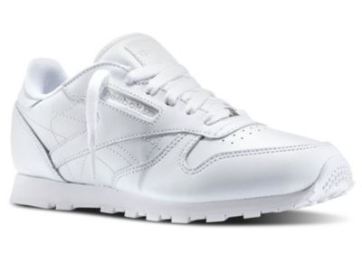 Boys White Classic Leather - Youth Shoes - 6