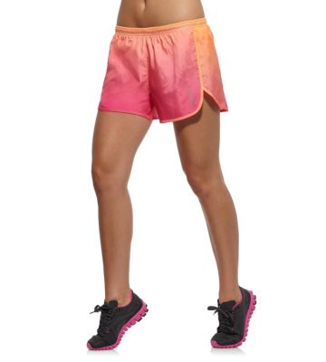 Women's Fluorescent Orange Run 4 Inch Short Ombre - S
