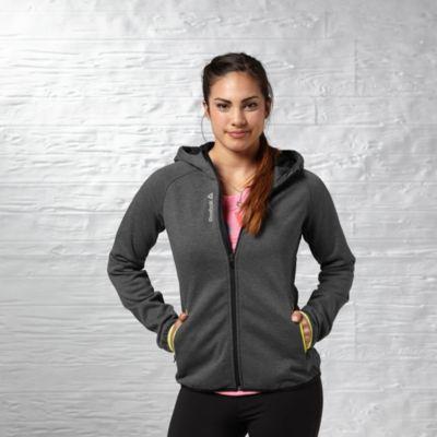 Women's Dark Grey Heather Reebok ONE Series Bonded Fleece Hoodie - M - Fitness & Training Apparel