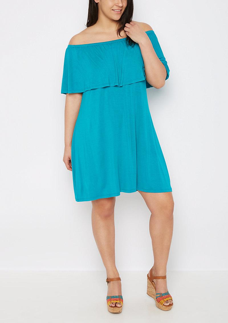 rue21 Plus Turquoise Flounce Off-Shoulder Dress