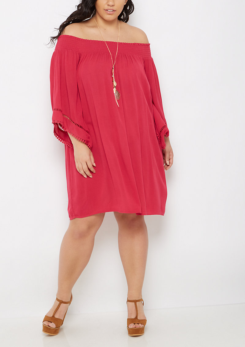 rue21 Plus Fuchsia Boho Off Shoulder Dress