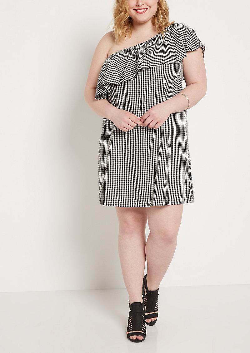 rue21 Plus Gingham Flounce One-Shoulder Dress