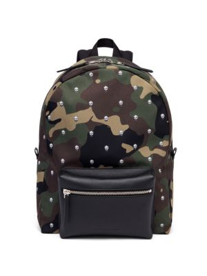 Leather Camouflage Skull Patterned Backpack