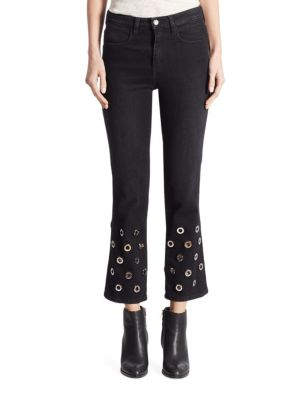 Juliette High-Rise Grommet Cropped Flared Jeans