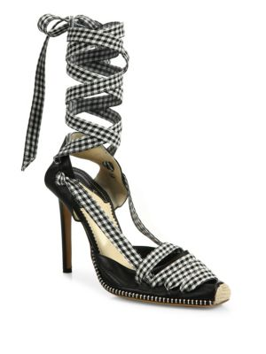Leather & Gingham Lace-Up d'Orsay Pumps