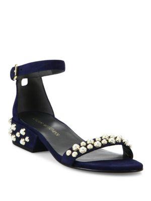 All Pearls Studded Suede Block Heel Sandals