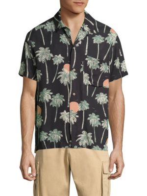 Nevin Relaxed Woven Hawaii-Print Shirt<br>